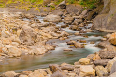 Rushing river in a mountain forest Royalty Free Stock Images