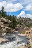 Rushing stream river water through Eleven Mile Canyon Colorado Stock Photos