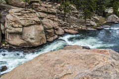 Rushing stream river water through Eleven Mile Canyon Colorado Royalty Free Stock Image