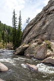 Rushing stream river water through Eleven Mile Canyon Colorado Royalty Free Stock Photography