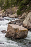 Rushing stream river water through Eleven Mile Canyon Colorado Stock Image