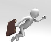 Rushing to Work (With Clipping Path). 3D render of a figure carrying a briefcase running with flying speed Royalty Free Stock Photo