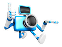 Rushing toward the left side of the Blue Camera Character. Creat Royalty Free Stock Photography