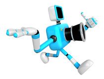 Rushing toward the left side of the Cyan Camera Character. Creat Royalty Free Stock Image