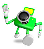 Rushing toward the left side of the Green Camera Character. Crea Royalty Free Stock Image