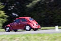 Rushing Volkswagen Beetle. Action shot of a red Volkswagen Beetle racing on a road against a backdrop of trees stock photos