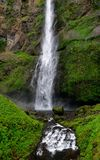 Rushing water fall along a moss covered cliff. A rushing water fall along a lush moss covered cliff in the Pacific Northwest - a forest stream in springtime stock photo