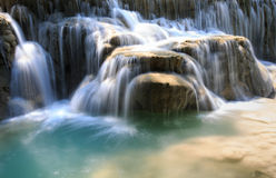 Rushing water flowing over rocks Royalty Free Stock Photo