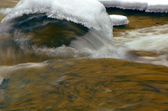 Rushing water & ice Stock Images