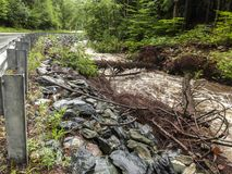 Rushing Water from Severe Flash Flood in Stream. Rushing flash flood water in a stream with fallen trees along a road stock image