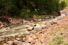 Rushing waters of the Little Thompson River. Snow melt water  rushing down from Rocky Mountain National Park in the Little Thompson River Royalty Free Stock Images