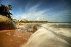 Rushing wave at Bari Kecil beach Royalty Free Stock Image
