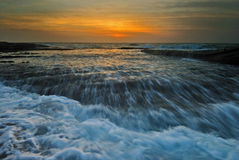 Rushing waves seascape sunrise Royalty Free Stock Photo