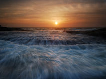 Rushing waves seascape sunrise Royalty Free Stock Image