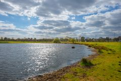 Rushmere Pond. On a overcast day in spring, Wimbledon Common, England U.K royalty free stock photos