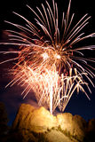 Rushmore Fireworks. Independence day fireworks over Mt Rushmore stock photos