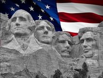 Rushmore mountains. With a background of united states flag stock images