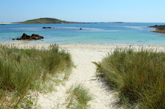 Rushy Bay beach in Bryher, Isles of Scilly. Royalty Free Illustration