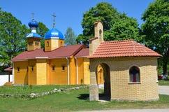 Rusia, Adygea, pueblo de Pobeda, Mihaylo-Afonskaya abandona (el monasterio) El templo en honor del Dormition de la madre de dios Imagen de archivo