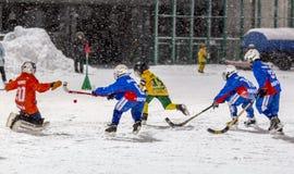 RUSIA, ARKHANGELSK - 14 DE DICIEMBRE DE 2014: la liga de hockey bandy, Rusia de los 1ros niños de la etapa Imágenes de archivo libres de regalías