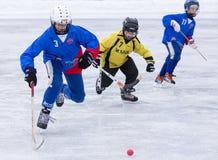 RUSIA, ARKHANGELSK - 14 DE DICIEMBRE DE 2014: la liga de hockey bandy, Rusia de los 1ros niños de la etapa Foto de archivo
