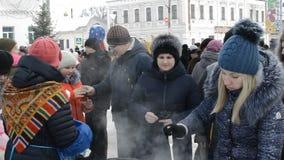 Rusia, Chaplygin, el 18 de febrero de 2018, adiós del día de fiesta de Ranenburg A al carnaval ruso del invierno metrajes