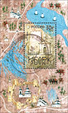 RUSIA - CIRCA 2012: El sello impreso en Rusia dedicó el 1150o aniversario de Izborsk Fotografía de archivo libre de regalías