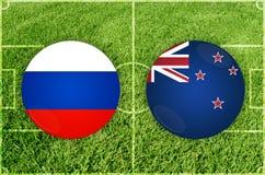 Rusia contra partido de fútbol de Nueva Zelanda Imagen de archivo libre de regalías