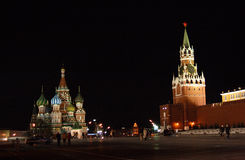 Rusia. Cuadrado rojo, noche Imagen de archivo libre de regalías
