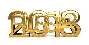 Rusia 2018 3d de oro fino rinde stock de ilustración
