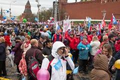 05/01/2015 Rusia, Moscú Demostración en cuadrado rojo DA de trabajo Imagen de archivo libre de regalías