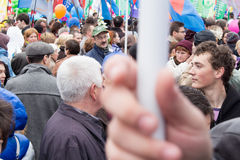 05/01/2015 Rusia, Moscú Demostración en cuadrado rojo DA de trabajo Imagenes de archivo
