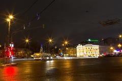 Rusia, Moscú, enero 7, 2016 - calles de la ciudad de la noche de la Navidad, fes Foto de archivo libre de regalías