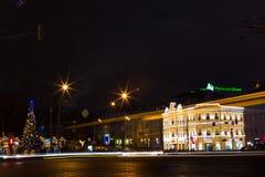 Rusia, Moscú, enero 7, 2016 - calles de la ciudad de la noche de la Navidad, fes Fotografía de archivo libre de regalías