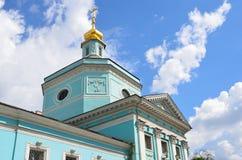 Rusia, Moscú, iglesia antigua de la trinidad vivificante en Serebryaniki Detalles de la configuración fotografía de archivo libre de regalías
