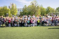 Rusia Moscú, mayo, 07 18: ` Inmortal del regimiento de la guardería del ` público especial de la acción, propaganda militar del e Foto de archivo