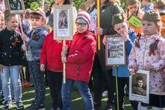 Rusia Moscú, mayo, 07 18: ` Inmortal del regimiento de la guardería del ` público especial de la acción, propaganda militar del e Imagen de archivo libre de regalías