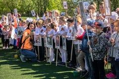 Rusia Moscú, mayo, 07 18: ` Inmortal del regimiento de la guardería del ` público especial de la acción, propaganda militar del e Foto de archivo libre de regalías