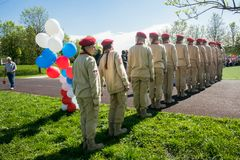 Rusia, Moscú, puede, 07 2018: Los cadetes militares del ` s del movimiento del ` joven del ejército del `, participando en evento Fotografía de archivo libre de regalías