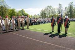 Rusia, Moscú, puede, 07 2018: Los cadetes militares del ` s del movimiento del ` joven del ejército del `, participando en evento Fotos de archivo libres de regalías