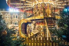 Rusia, Moscú, ` s justo, mercado del Año Nuevo de la Navidad en Plaza Roja Foto de archivo
