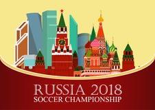 Rusia 2018 mundiales Bandera del fútbol Ejemplo plano del vector Deporte Imagen del Kremlin, ciudad de Moscú del centro de negoci Fotografía de archivo libre de regalías