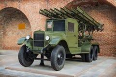 RUSIA, NIZHNY NOVGOROD - 6 DE AGOSTO DE 2014: Sistema del jet de fuego del voleo 132 milímetros durante la Segunda Guerra Mundial Fotografía de archivo libre de regalías