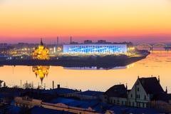 RUSIA, Nizhny Novogorod - abril de 2018: Vista del estadio de Nizhny Novogorod, construyendo para el mundial 2018 de la FIFA en R imagen de archivo libre de regalías
