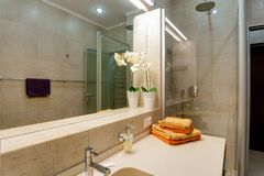 Rusia, Novosibirsk - 28 de enero de 2016: apartamento interior del sitio cuarto de baño moderno, fregadero, elementos de la decor foto de archivo libre de regalías