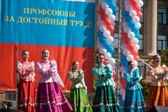 RUSIA, PENZA - 1 DE MAYO: Demostración del día de mayo Imágenes de archivo libres de regalías