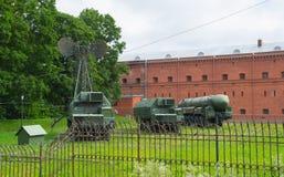 Rusia Petersburgo museo del 11 de julio de 2016 del sistema de misiles de la artillería Foto de archivo libre de regalías