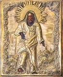 Rusia, Ryazan 1 de febrero de 2019 - viejo icono ortodoxo del siglo XIX en lona de madera imagen de archivo