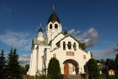 Rusia, St Petersburg, agosto 15,2018, la iglesia de St Alexis el metropolitano de Moscú en la carretera de Gatchina, mismo un bea fotografía de archivo libre de regalías