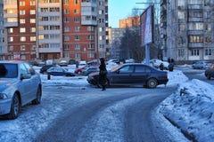Rusia, St Petersburg, calle 17,01,2013 en dormir moderno a Foto de archivo